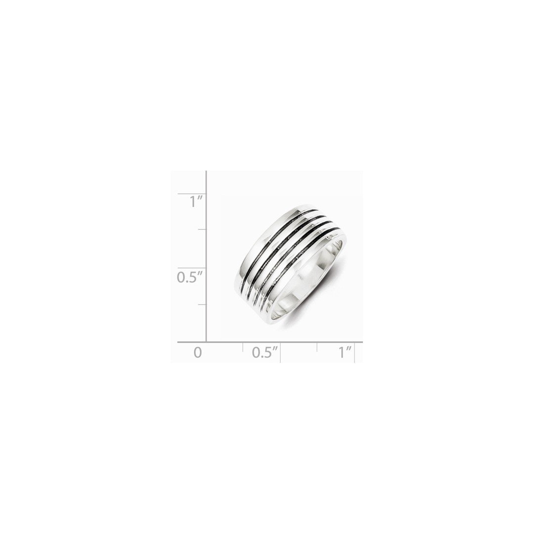ICE CARATS 925 Sterling Silver Ribbed Band Ring Size 8.00 Fine Jewelry Ideal Gifts For Women Gift Set From Heart by ICE CARATS (Image #3)