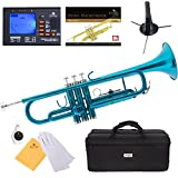 Mendini Sky Blue Lacquer Brass Bb Trumpet + Tuner
