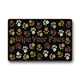"""Personalized Fashion Wipe Your Paws Dog Paws Machine-washable Doormat Mat 23.6""""(L) x 15.7""""(W)"""