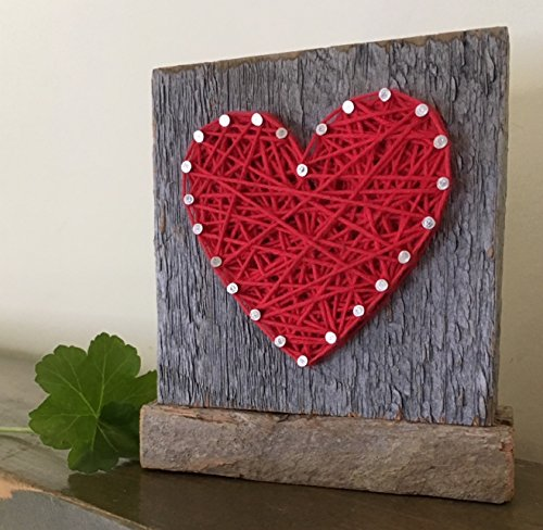Sweet & small freestanding wooden red string art heart sign. Perfect for home accents, Wedding favors, Anniversary gifts, Valentine's Day, Christmas, nursery decoration and just because gifts.