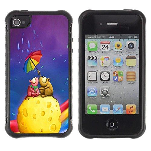 Apple Iphone 4 / 4S - Colorful Umbrella Rainbow Cheese Love Art