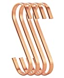 RuiLing 12-Pack 4.5 Inch Rose Gold Chrome Finish Steel Hanging Flat Hooks - S Shaped Hook Heavy-Duty S Hooks, for Kitchenware, Pots, Utensils, Plants, Towels, Gardening Tools, Clothes