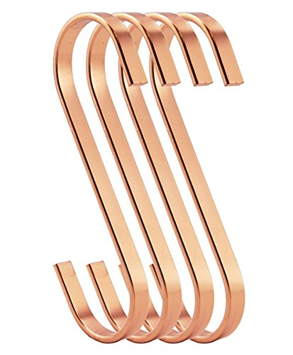 RuiLing 12-Pack 4.5 Inch Rose Gold Chrome Finish Steel Hanging Flat Hooks - S Shaped Hook Heavy-Duty S Hooks, for Kitchenware, Pots, Utensils, Plants, Towels, Gardening Tools, - S Gold Hooks