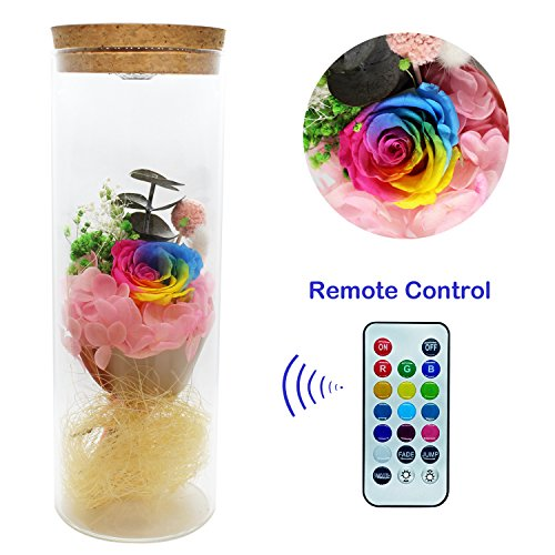 Glowing Rose - ZRYun Preserved Fresh Flower - Forever Rainbow Rose in a Glass with 13 Color LED Lights, Glowing Immortal Flower with Remote Control, Best Gift for Valentine's Day Wedding Anniversary Birthday