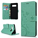 for Samsung Galaxy Note 8 Case, Flip Wallet Full PU Leather Kickstand Emboss Floral Butterfly Magnetic Book Style Built-in Stand Card Slots Holder Protective Cover Detachable Wrist Strap, Green