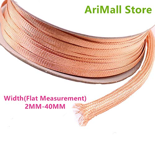 GIMAX EMI RFI Shielding net DIY Fever Signal line Audio line Horn line Tube Copper Metal Braided Sleeving - (Size: 40MM)