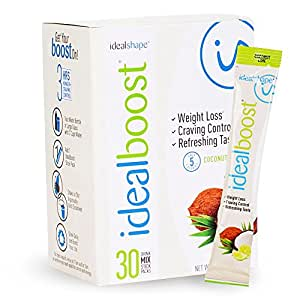 IdealBoost, Weight Loss Drink Mix Packets, Coconut Lime, w/ Hunger Blocking and Energy Blends, 30 Servings…
