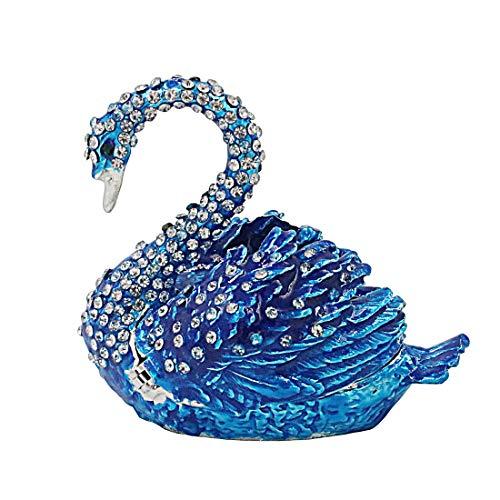 Accent Enamel Diamond Ring Blue (Hophen Diamond Blue swan Trinket Keepsake Box Hinged Figurine Collectible Ring Holder Wedding)
