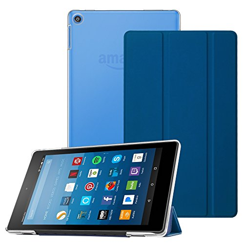Fintie Case For All New Fire Hd 8 2017   Fire Hd 8 2016  Super Slim Lightweight Stand Cover With Translucent Frosted Back Protector For Amazon Fire Hd 8 7Th   6Th Generation 8  Tablet  Marine Blue