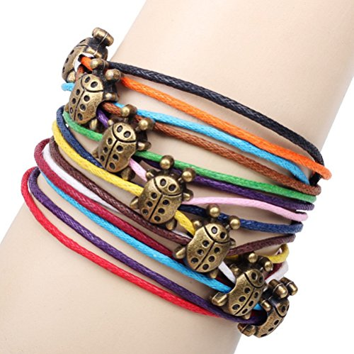 Winter's Secret Bronze Ladybird Pattern Hand Braided Diy Color Wax Rope Ancient Wrap - Bracelet Pattern Dog