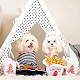 little dove Dog Teepee Large Pet Tent Furniture Cat and Dog Bed With Pad 35 Inch White Cover and White Pad