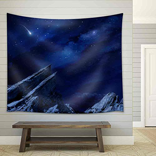 a Desert Landscape at Night with Moonlight and Stars Fabric Wall