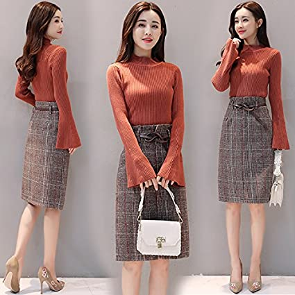 Amazon Com Gaolim Autumn And Winter Knitted Dress Suits Skirts