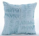 "Luxury Light Blue Shams, Textured Pintucks Solid Color Pillow Shams, 24""x24"" Pillow Sham, Square Cotton Linen Shams, Modern Pillow Shams - Open To The Sky"