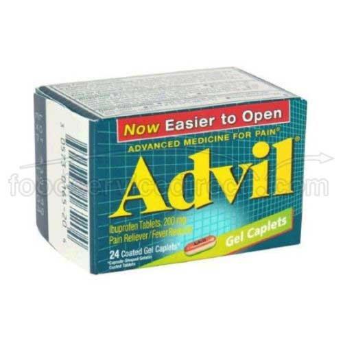 Advil Ibuprofen Gel Caplet, 200 Milligram - 6 box per pack -- 12 packs per case.