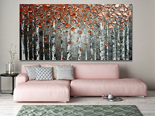 Artist Design Thick Palette Knife gray Painting Abstract Art Wall Artwork Decoration Hand-painted Birch Tree Oil Painting on Canvas by Fchen Art