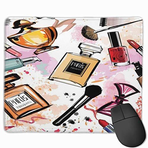 Alfombrilla de raton, Alfombrilla de Escritorio, patron de Tema de cosmeticos y Maquillaje de Moda con Perfume Lapiz Labial Esmalte de unas Bruish Modern Coral Wh
