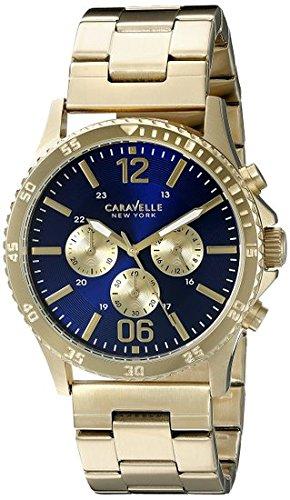 Caravelle New York Men's 44A106 Analog Display Quartz Gold (Bulova Mens Diamond Gold Watch)