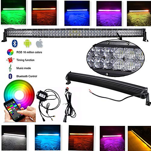 IOV LIGHT 52 inch 300w 5d Bluetooth RGB Led Light Bar Curved 100pcs 3W CREE LEDs Spot Flood Combo Beam Off road Driving light by Bluetooth App and Switch free Wiring Harness