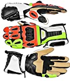 HWK Racing Premium Leather Fluorescent Motorcycle Motorbike Gloves Cow Hide Leather Long 1 YEAR WARRANTY!!! ...