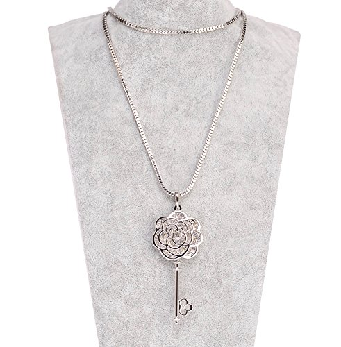 Chanel Charm Necklace (MISASHA Multipurpose Camellia Charms Long Strand Bridal Necklace)