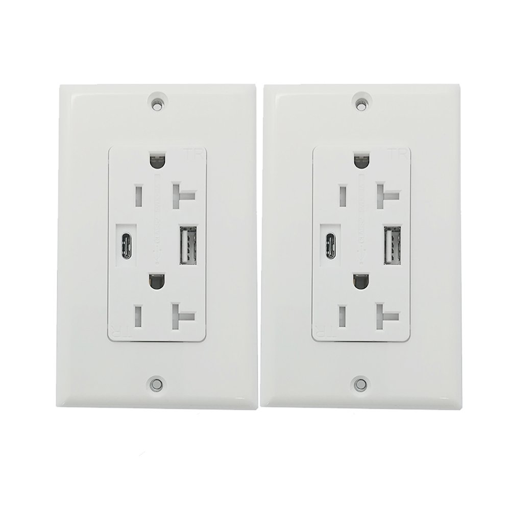 Anboter Duplex Receptacle Outlet ETL Certified Safety 4.0Amp Smart DC Type A&Type C Charger Socket/Outlet 20Amp Tamper Resistant Duplex Receptacle, White (2 pack)