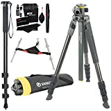 Vanguard Alta Pro 2+ 264CT Carbon Fiber Tripod with Multi-Angle Center Column, Ritz Gear Tripod Stone Bag, 72-Inch Monopod with Quick Release and Ritz Gear Cleaning Kit