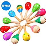 Blue-B Mini (5 Inch) Wooden Fiesta Maracas - Pack of 12 - Assorted colors and designs
