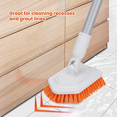 Tub and Tile Scrub Brush Grout Brush Stiff Bristles Cleaning Scrubber with Extension Long Handle 42'' Brush for Floor Cleaning Shower Grout Kitchen Bathroom
