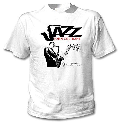 Teesquare1st Men's JOHN COLTRANE - JAZZ White T-Shirt Size Medium (T John St Shirt)