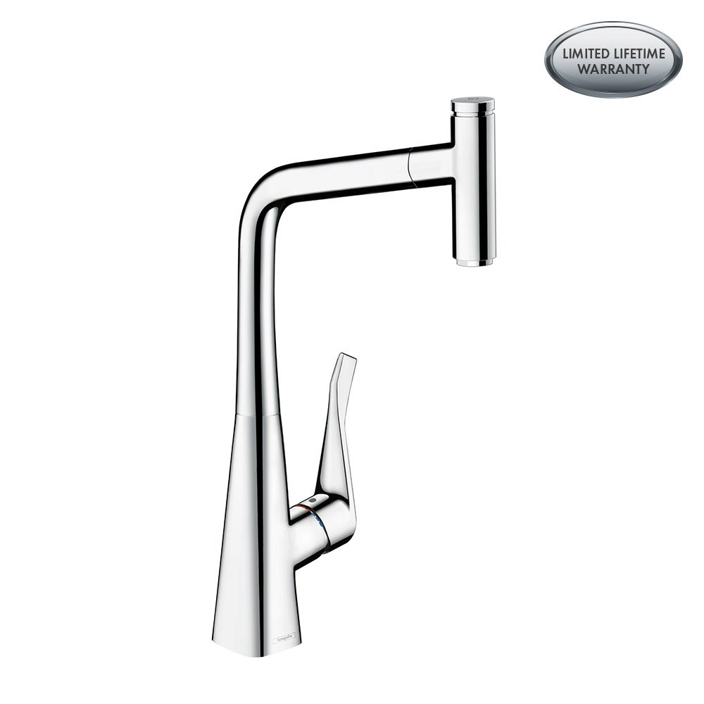 hansgrohe Metris Select Easy Install 1-Handle 18-inch Tall Kitchen Faucet with Pull Down Sprayer Magnetic Docking Spray Head in Chrome, 14884001 by Hansgrohe