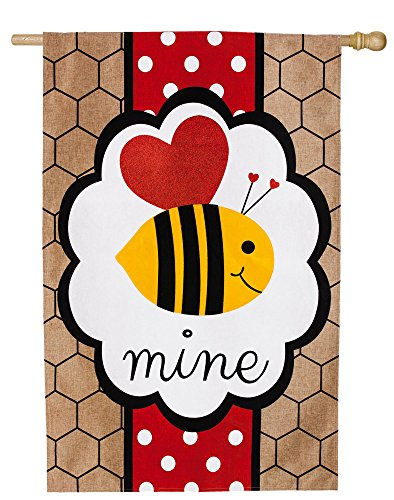 Evergreen Bee Mine Valentine's Burlap House Flag, 28 x 44 in