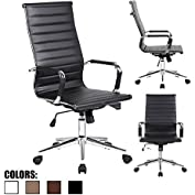 2xhome - Black- Eames Modern High Back Tall Ribbed PU Leather Swivel Tilt Adjustable Chair Designer Boss Executive...