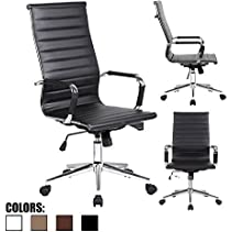 2xhome - Black- Eames Modern High Back Tall Ribbed PU Leather Swivel Tilt Adjustable Chair Designer Boss Executive Management Manager Office Conference Room Work Task Computer
