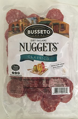 8oz Busseto Classico Italian Dry Salame Bite Size Nugget, Gluten Free, Pack of 2 ()