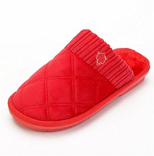 en WDGT Coton résistant Anti d'hiver Intérieur pour Hommes Mémoire Laine Chaussons l'usure red dérapant à Chaud Confortable Slip Maison Mousse on Femmes Glisser qqx0wg