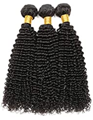 Brazilian Virgin Hair Kinky Curly Hair 3 Bundles 100%Unprocessed Human Hair Wet And Wavy Human Hair Extensions Natural Color(16 18 20,Natural Color))