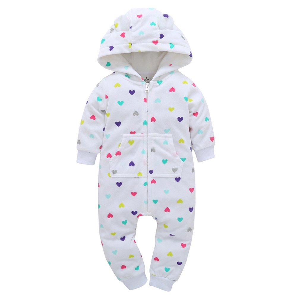 Robemon vêtement bébé garçons Filles Épaissi Barboteuse Coeur Impression Ensemble 6-18Mois