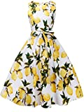 FAIRY COUPLE 50s Vintage Retro Floral Cocktail Swing Party Dress with Bow DRT017(3XL, White Yellow Fruits)