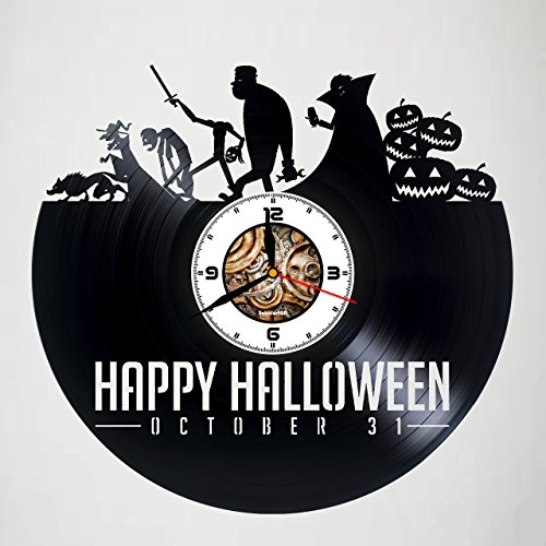 (Happy Halloween - Handmade Vinyl Wall Clock – Original gift for any occasion – unique birthday, wedding, anniversary, Valentine's day gifts - Wall décor Ideas for any space – Customize)