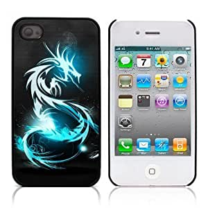 iLookcase Art Serie: Blue Chinese Dragon Hard Cover Case for Apple iPhone 4 4S With 3 Pieces Screen Protectors and One Stylus Touch Pen