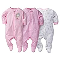 Gerber Sleep N' Play 3-6 Months Baby Girls Kitty Outfits 3 Pack