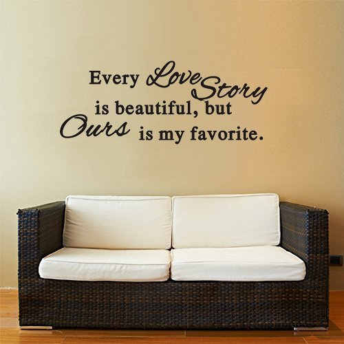 Dnven 30quotw x 15quoth DIY Every Love Story is Beautiful Quotes Graphic Wall Decals Stickers Removable Vinyl Arts for Bedrooms Family Playroom Girls Room
