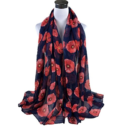 Tuscom Red Poppy Print Long Scarf Flower Beach Wrap Ladies Shawl(90×180cm) (Print Long Scarf)