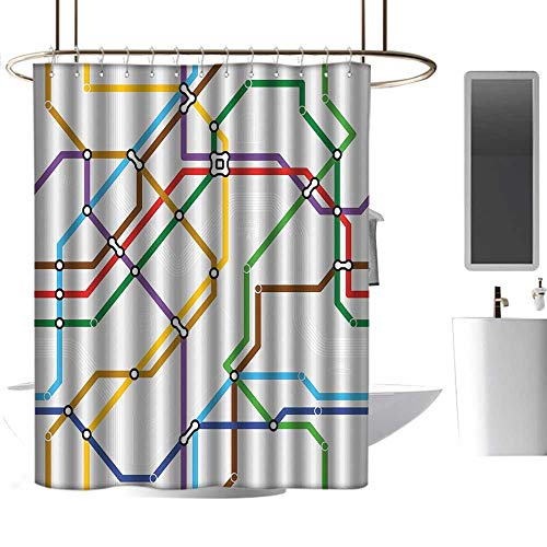 (Map Floral Shower Curtain Stripes in Vibrant Colors Metro Scheme Subway Stations Abstract Railroad Transportation Shower Curtains in Bath W72)