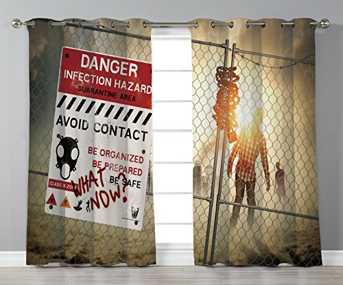 Stylish Window Curtains,Zombie Decor,Dead Man Walking Dark Danger Scary Scene Fiction Halloween Infection Picture,Multicolor,2 Panel Set Window Drapes,for Living Room Bedroom Kitchen Cafe -