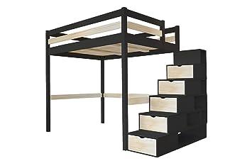 Abc Meubles Lit Mezzanine Sylvia Avec Escalier Cube Bois Cube Noir Vernis Naturel 140x200