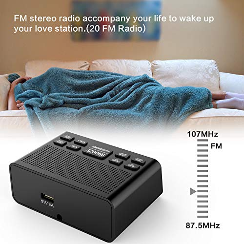 Clock Radio, Digital FM Bedside Alarm Clock Radio with USB Charger Port for Bedroom Guestroom or Livingroom