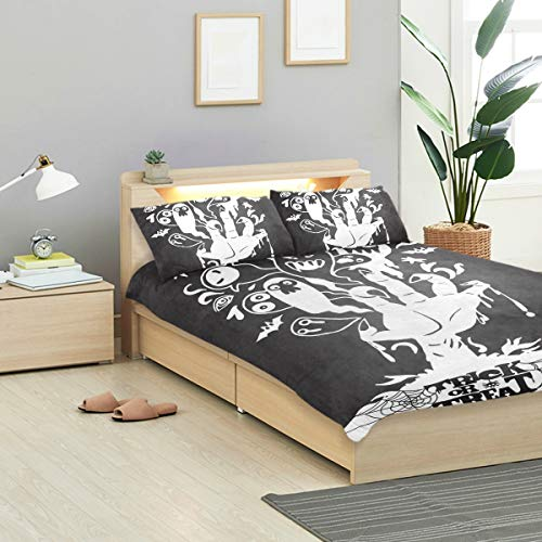 MIGAGA Duvet Cover Set, Vector Illustration Halloween Background Zombie Hand, Decorative 3 Piece Bedding Sets with 2 Pillow Shams Twin/TWINXL Size]()