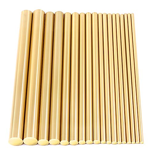 Swpeet 18Pcs Assorted Brass Solid Round Rod Lathe Bar Stock Kit, Diameter 2mm-8mm Length 100mm, Perfect for Various Shaft, Miniature Axle, Model Plane, Model Ship, Model Cars ()